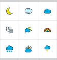 climate icons colored line set with solar windy vector image vector image