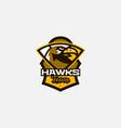 colorful logo sticker emblem a hawk head vector image vector image