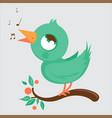 cute bird singing on a tree branch vector image vector image