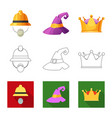 design of headgear and cap icon set of vector image