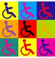 Disabled sign Pop-art style icons set vector image vector image