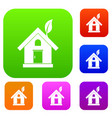 eco house concept set collection vector image vector image