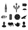 england country black icons in set collection for vector image vector image