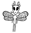 fairy tales coloring page with dragonfly alien vector image vector image