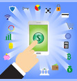 finger tapping dollar sign in smartphone with vector image