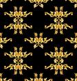 Golden floral pattern on black vector image vector image