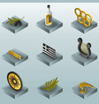 greece color gradient isometric icons vector image vector image