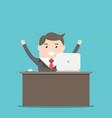 happy businessman at desk vector image vector image