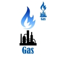 Industrial icon with refinery plant and flame vector image vector image