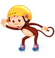 monkey playig roller skate vector image vector image