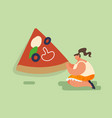 people woman baking and eating huge pizza female vector image