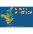 pixel art style map of north america contains vector image