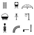 railway icon set vector image