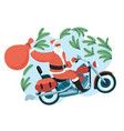 santa claus with a gift sack riding a motorbike vector image