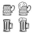 set of beer mugs icons isolated on white vector image vector image