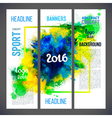 Signs 2016 on watercolor ink background of green vector image vector image