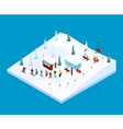 Skiing Mountain Isometric Landscape vector image vector image