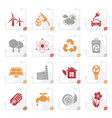 stylized ecology environment and recycling icons vector image vector image