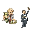 Successful businessman characters with money vector image vector image