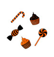 Sweets for halloween black and orange isolated on vector image