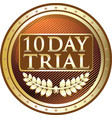 ten day trial gold icon vector image