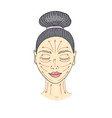 the girl s face with closed eyes and drawn massage vector image