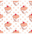 tile pattern with cupcakes and pink polka dots vector image