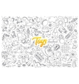 Toys doodle set with lettering vector image vector image