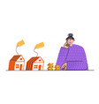 upset woman looking at houses girl with house and vector image vector image