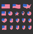 usa flag symbols set united states america vector image