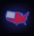 Usa map and flag neon sign usa map symbol vector image