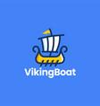 viking sail boat playful cartoon logo icon vector image