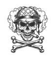 vintage monochrome skull wearing soldier helmet vector image vector image