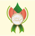 watermelon natural product label premium quality vector image vector image