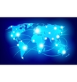 World map with glowing points vector image vector image