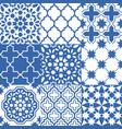 moroccan tiles design seamless navy blue pattern vector image