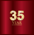 35 year anniversary gold with red background vector image vector image
