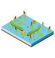 3d design for pond scene with two crocodiles vector image vector image