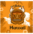 aloha hawaii tiki mask leaves background im vector image