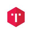 alphabet t icon red hexagonal shape icon concept vector image vector image
