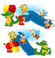 animal are building slide from plastic block vector image vector image
