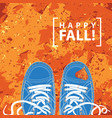 banner with blue shoes and autumn leaves vector image