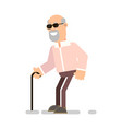 blind grandfather with a wand vector image