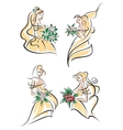Blonde brides in doodle sketch style vector image vector image