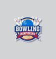 bowling championship emblem skittles ball ribbon vector image