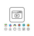 browser window line icon video content sign vector image vector image
