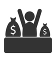 Business finance icon with cash bags isolated on vector image