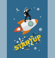 businessman astronaut standing on a rocket vector image vector image