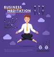 businessman meditating in peace of mind vector image
