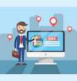 businessman with computer to house sale location vector image